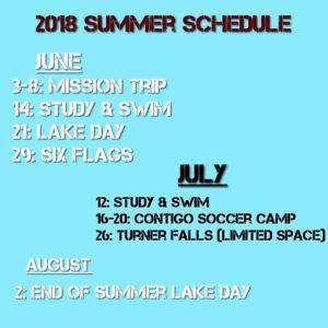 The U 2018 Summer Schedule