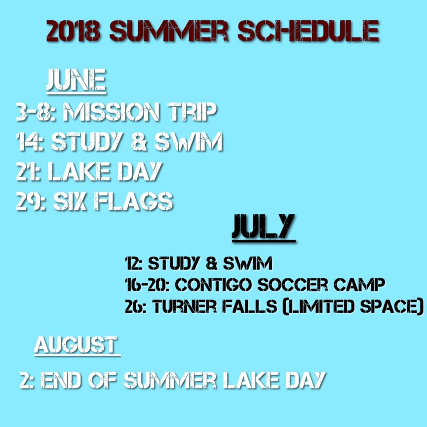 The U 2018 Summer Schedule