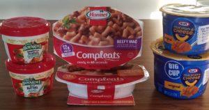 Chef Boyardee spaghetti and meatballs, Hormel Compleats beefy mac, Kraft mac and cheese